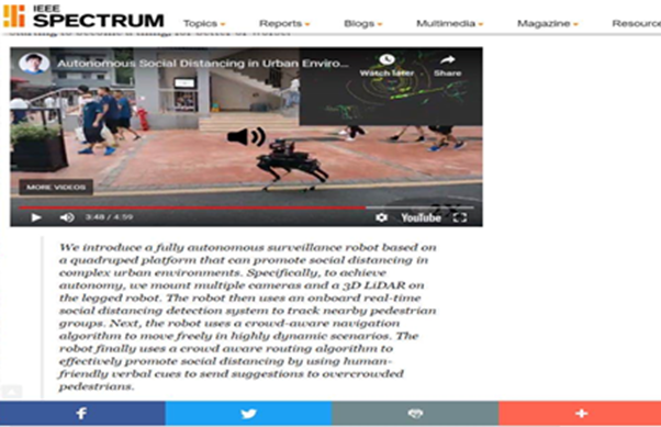 Research on using quadrupedal robots to help ending Covid-19 pandemic reported by IEEE Spectrum